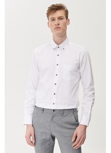 Beymen Business Slim Fit İpliği Boyalı Gömlek 4B2021100001 Beyaz
